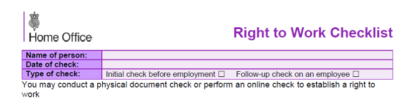 Right to Work Check